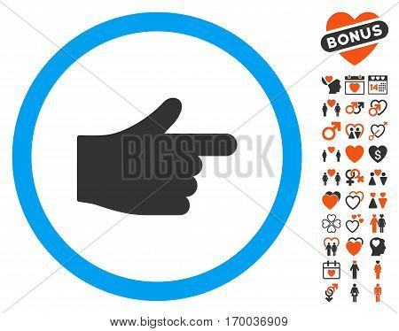 Index Hand pictograph with bonus decorative images. Vector illustration style is flat iconic symbols for web design app user interfaces.