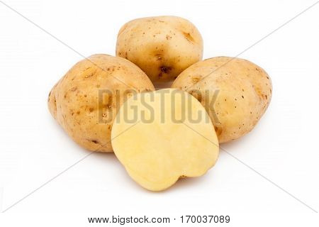 Quality of potatoes Saturn. Potatoes isolated on white background