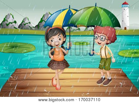 Kids being in the rain  illustration