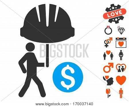 Industrial Financial Coverage pictograph with bonus love pictograms. Vector illustration style is flat iconic elements for web design app user interfaces.