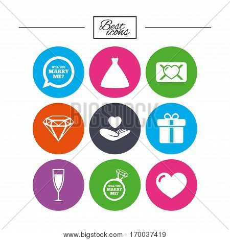 Wedding, engagement icons. Love oath letter, gift box and brilliant signs. Dress, heart and champagne glass symbols. Classic simple flat icons. Vector