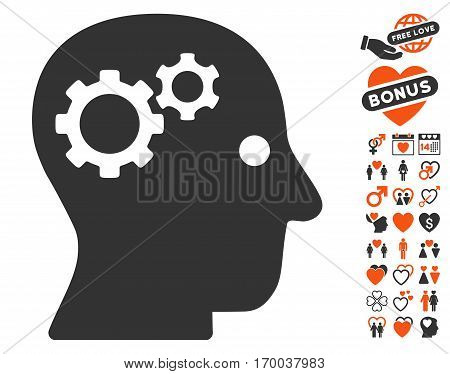 Intellect Gears pictograph with bonus valentine icon set. Vector illustration style is flat iconic elements for web design app user interfaces.