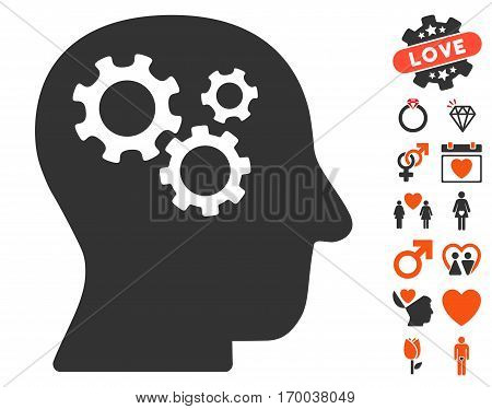 Intellect Gears pictograph with bonus love graphic icons. Vector illustration style is flat iconic symbols for web design app user interfaces.