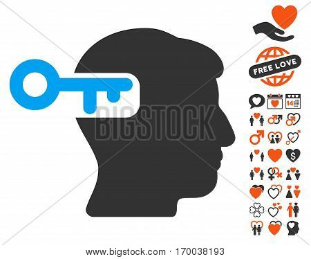 Intellect Key icon with bonus love images. Vector illustration style is flat iconic symbols for web design app user interfaces.