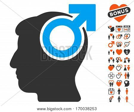Intellect Potency icon with bonus decoration pictures. Vector illustration style is flat iconic symbols for web design app user interfaces.