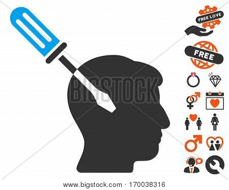 Intellect Screwdriver Tuning pictograph with bonus valentine icon set. Vector illustration style is flat iconic elements for web design app user interfaces.