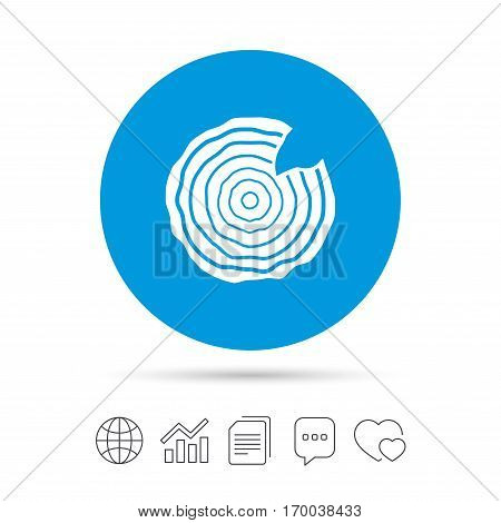 Wood sign icon. Tree growth rings. Tree trunk cross-section with nick. Copy files, chat speech bubble and chart web icons. Vector