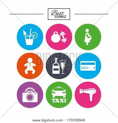 Hotel, apartment service icons. Fitness gym. Alcohol cocktail, taxi and hairdryer symbols. Classic simple flat icons. Vector