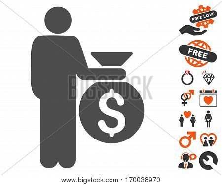Investor pictograph with bonus passion clip art. Vector illustration style is flat iconic symbols for web design app user interfaces.