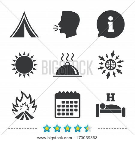 Hot food, sleep, camping tent and fire icons. Hotel or bed and breakfast. Road signs. Information, go to web and calendar icons. Sun and loud speak symbol. Vector