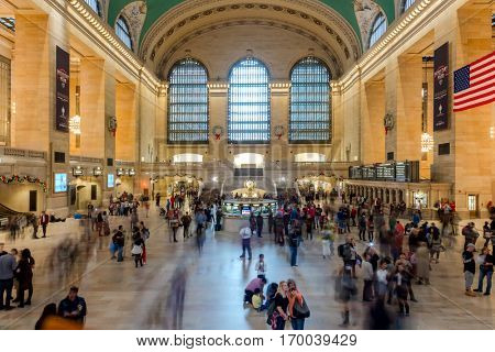 Grand Central Terminal Interior of Main Concourse, crowd of people and Christmas decorations  on December 25th, 2015 -  Manhattan, New York City, USA