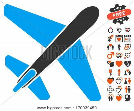 Jet Airplane pictograph with bonus romantic pictograph collection. Vector illustration style is flat iconic elements for web design app user interfaces.