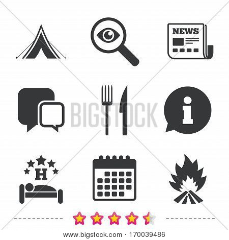 Food, sleep, camping tent and fire icons. Knife and fork. Hotel or bed and breakfast. Road signs. Newspaper, information and calendar icons. Investigate magnifier, chat symbol. Vector
