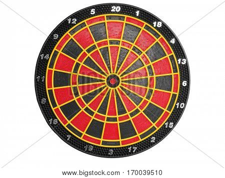 Electronic dartboard for soft tip darts isolated on white background
