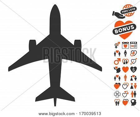 Jet Plane icon with bonus love icon set. Vector illustration style is flat iconic symbols for web design app user interfaces.