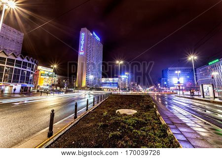 Warsaw, Poland - October 28, 2016: Night view of Building of Novotel Warsaw Centrum located near the Central Train Station and historic old town. This 4 star hotel is part of AccorHotels group