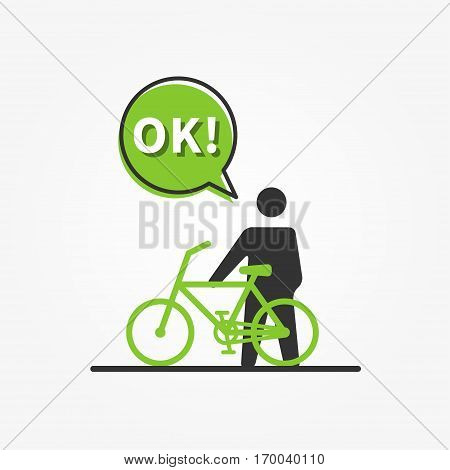 Man with bicycle vector illustration. Green color bicycle creative concept. Eco friendly transport graphic design.