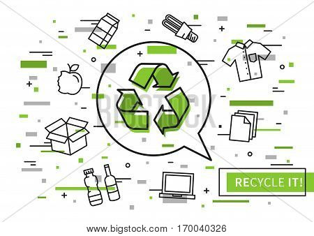 Recycle it vector illustration with colorful elements. Recyclable things graphic design.