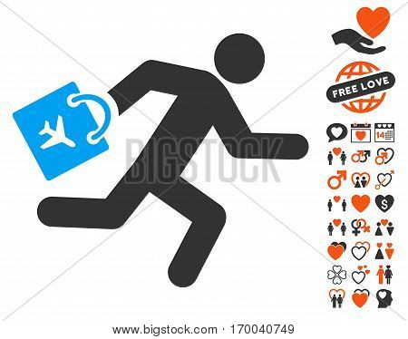 Late Airport Passenger icon with bonus decoration design elements. Vector illustration style is flat iconic symbols for web design app user interfaces.