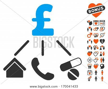 Life Pound Expenses icon with bonus romantic icon set. Vector illustration style is flat iconic symbols for web design app user interfaces.