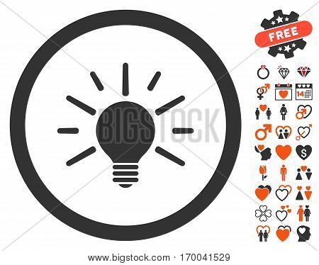 Light Bulb icon with bonus amour graphic icons. Vector illustration style is flat iconic elements for web design app user interfaces.
