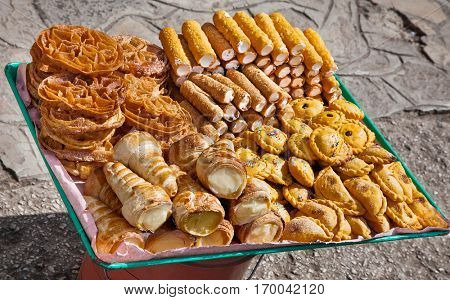 Traditional cakes and candies at street on Cristobal de las casas , Chiapas region, Mexico.