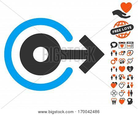 Log Out pictograph with bonus decoration images. Vector illustration style is flat iconic symbols for web design app user interfaces.