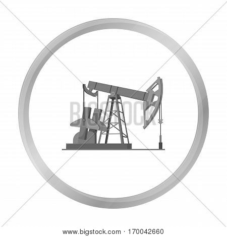 Oil pumpjack icon in monochrome style isolated on white background. Oil industry symbol vector illustration.