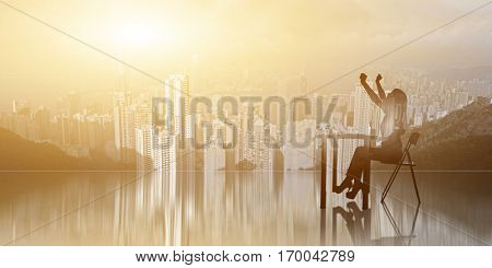 cheerful business woman, concept of success, excited, happy of silhouette portrait
