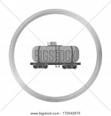 Oil tank car icon in monochrome style isolated on white background. Oil industry symbol vector illustration.