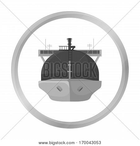Oil tanker icon in monochrome style isolated on white background. Oil industry symbol vector illustration.