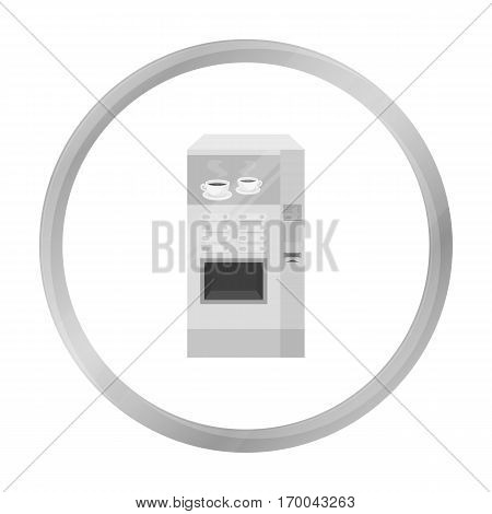 Office coffee vending machine icon in monochrome style isolated on white background. Office furniture and interior symbol vector illustration.