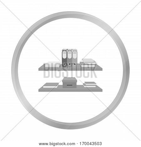Office shelves with file folders icon in monochrome style isolated on white background. Office furniture and interior symbol vector illustration.
