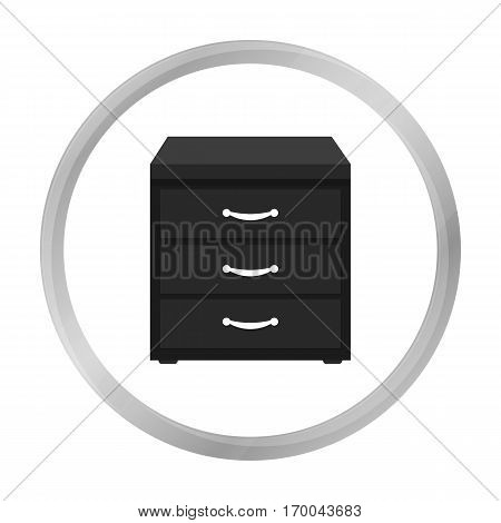 Office filing cabinet icon in monochrome style isolated on white background. Office furniture and interior symbol vector illustration.