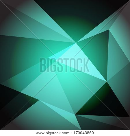 Low poly design element on green gradient background, stock vector