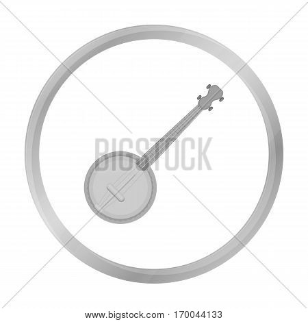 Banjo icon in monochrome style isolated on white background. Musical instruments symbol vector illustration