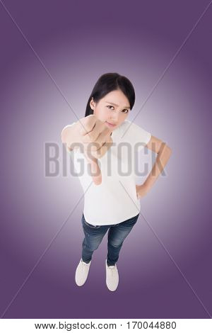 bad, Asian woman give you a sign. High angle picture.