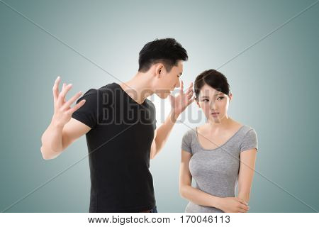 Asian couple argue, closeup portrait with two people.