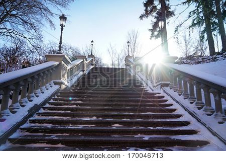 Beautiful stairs with banisters in winter park
