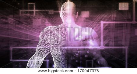 Digital Health System Software and Body Technology as Concept 3D Illustration Render