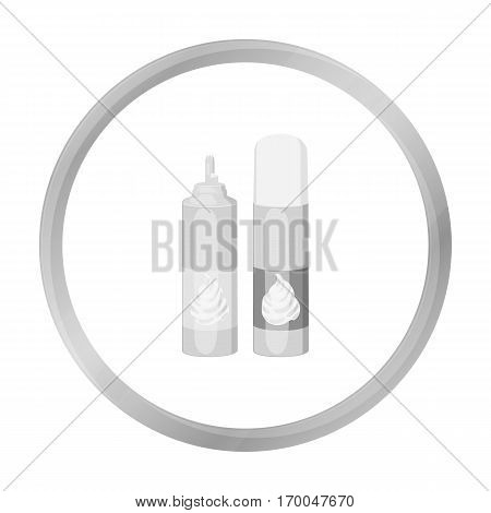Whipped cream in an aerosol can icon in monochrome style isolated on white background. Milk product and sweet symbol vector illustration.