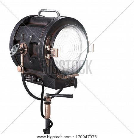 Vintage 3d Theater Spotlight or Movie Studio Light. Old Soffit Illustration Isolated on White Background