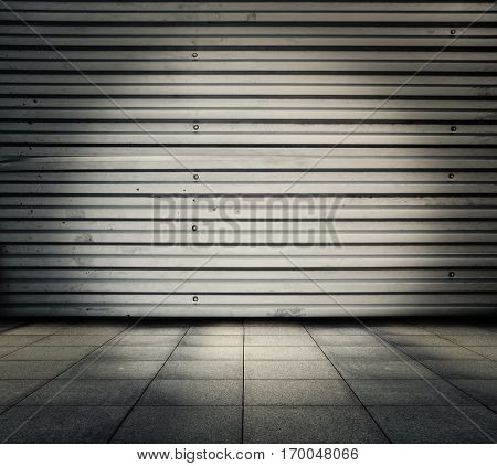 grunge metallic interior, urban background
