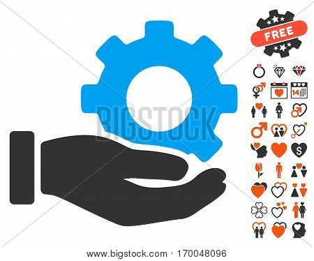 Mechanic Gear Service Hand icon with bonus romantic graphic icons. Vector illustration style is flat iconic symbols for web design app user interfaces.