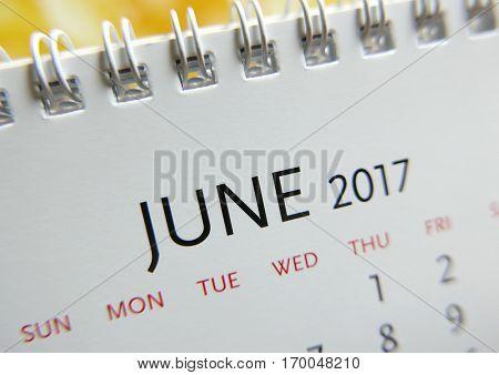 Close up calendar of June 2017