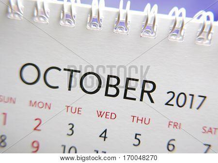 Close up calendar of October 2017