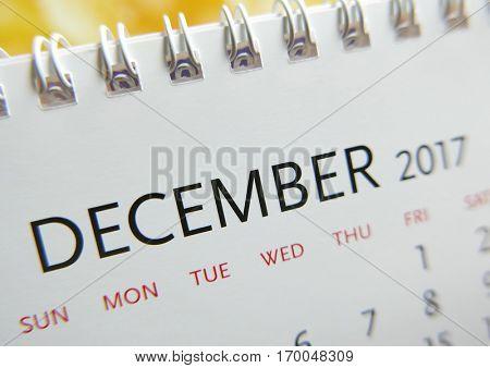 Close up calendar of December 2017
