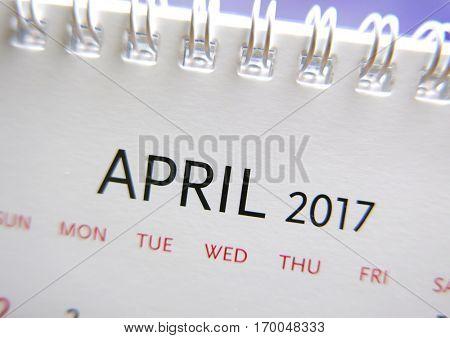 Close up calendar of April 2017