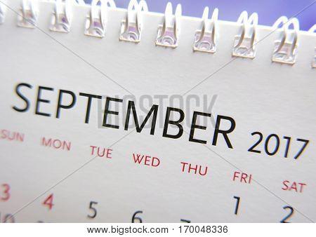 Close up calendar of September 2017