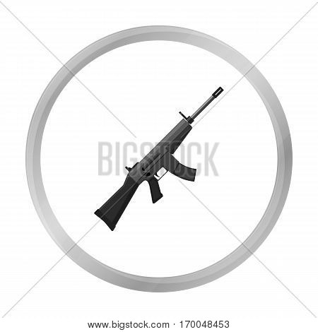 Military assault rifle icon in monochrome style isolated on white background. Military and army symbol vector illustration